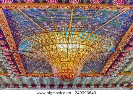 Barcelona - August 8: Stained-glass Skylight Of Palau De La Musica Catalana, Modernist Concert Hall