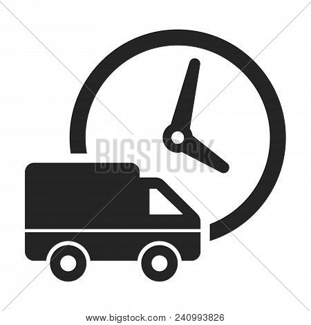 Truck And Clock Icon Isolated On White Background. Truck And Clock Icon Modern Symbol For Graphic An
