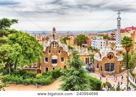 Barcelona - August 9: Gingerbread Houses, Modernist Buildings At The Entrance Of Park Guell In Barce