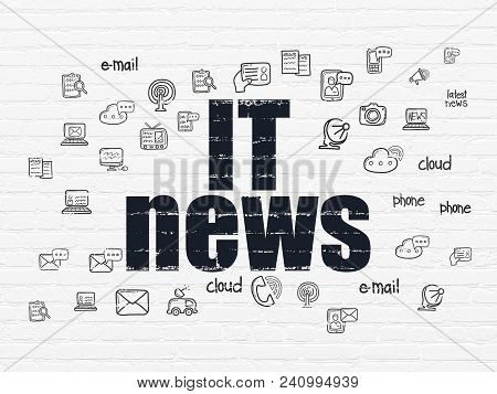 News Concept: Painted Black Text It News On White Brick Wall Background With  Hand Drawn News Icons