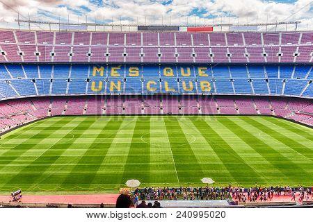 Barcelona - August 11: Interior View Of Camp Nou Stadium, Home Of Barcelona Football Club, Catalonia