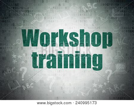 Studying Concept: Painted Green Text Workshop Training On Digital Data Paper Background With  Scheme