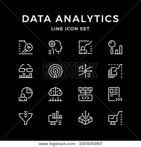 Set Line Icons Of Data Analytics Isolated On Black. Vector Illustration