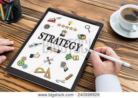 Strategy Concept With Digital Tablet Screen On Work Desk