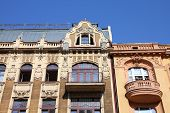 Lodz Poland - old decorative apartment building. Architecture in Lodzkie province. poster