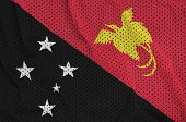 Papua New Guinea flag printed on a polyester nylon sportswear mesh fabric with some folds poster
