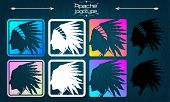 American indian logo, Apache logo. Silhouette of an American Indian, side view, 1 logo, in 8 different feeds, choose your own! Head of an Indian with a headdress, roach - logo. set poster