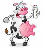 A fat dairy cow drinking milk from a glass, complete with hooves and utters. poster