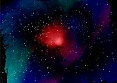 Star field in space and a nebulae. Abstract background of universe and a gas congestion. Spiral galaxy space with black holes. Vector nebula, for use with projects on science, research, and education poster