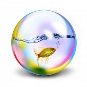 Multi colored transparent sphere poster