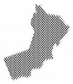 Demography Oman map people. Population vector cartography concept of Oman map done of men items. Social scheme of national community. Demographic abstract halftone map. poster