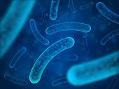 Micro bacterium and therapeutic bacteria organisms. Microscopic salmonella, lactobacillus or acidophilus organism. Abstract biological vector background poster