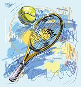 Vector illustration - Tennis racket and ball poster