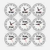 Vector illustration, increments from 19 to 27, one second interval, 3 rows and 3 columns on grey background, for business or education. Watches in flat design. Watches set 1. poster