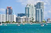 Luxury condominiums in the south beach section of Miami Beach,Florida overlooking the Florida Intra-coastal Waterway/ poster