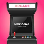 Realistic Detailed 3d Arcade Game Machine with Joystick and Console Recreation Geek Concept. Vector illustration of Virtual Gamble poster