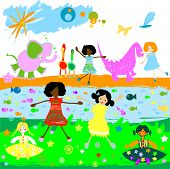 kids playing with little animals and toys poster