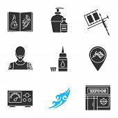 Tattoo studio glyph icons set. Tattoos catalog, aftercare, tattooist machine, tattooer, ink bottle, studio location, power supply, sketch, parlour. Silhouette symbols. Vector isolated illustration poster