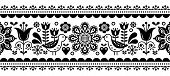 Scandinavian seamless vector pattern with flowers and birds, Nordic folk art repetitive black and white ornament poster