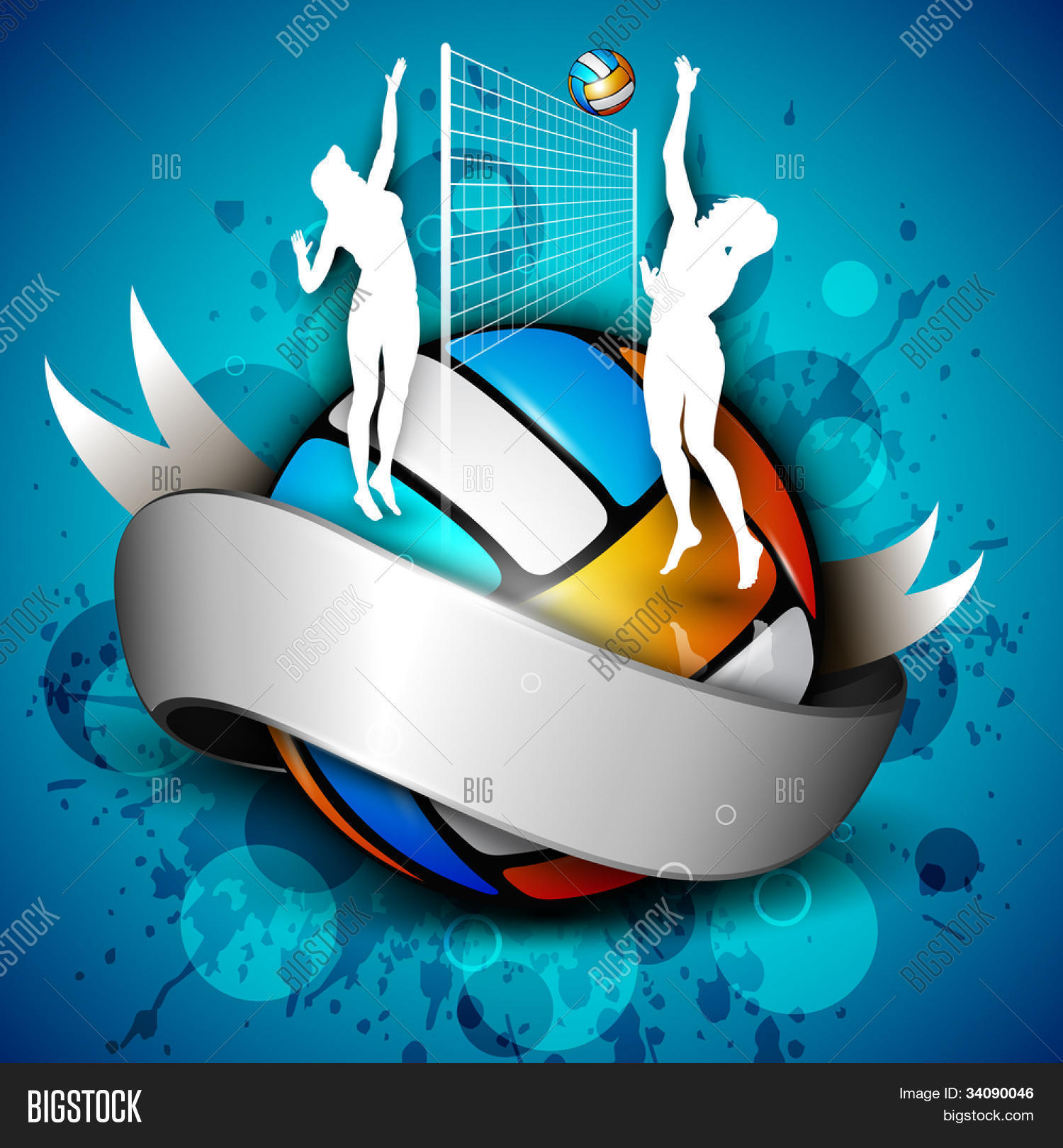 Colorful volleyball shiny silver vector photo bigstock colorful volleyball with shiny silver ribbon with girl players net and ball on grungy blue toneelgroepblik Images
