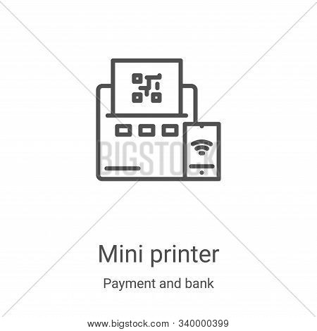 mini printer icon isolated on white background from payment and bank collection. mini printer icon t