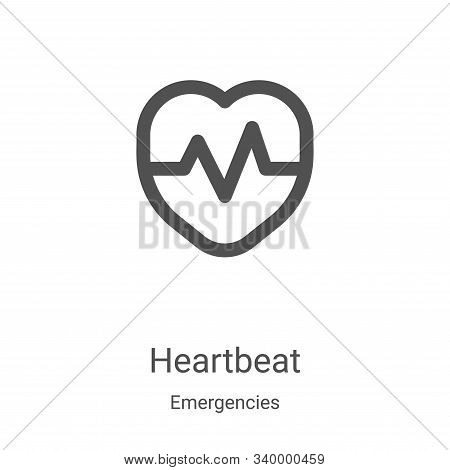 heartbeat icon isolated on white background from emergencies collection. heartbeat icon trendy and m
