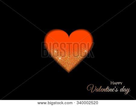 Happy valentines day background with red heart, gold frame, sparkles and handwritten calligraphy. Vector illustration. Valentine, valentine day, Valentines Day background, Valentine's day banners, Valentines Day flyer, Valentines Day design, Valentines Da