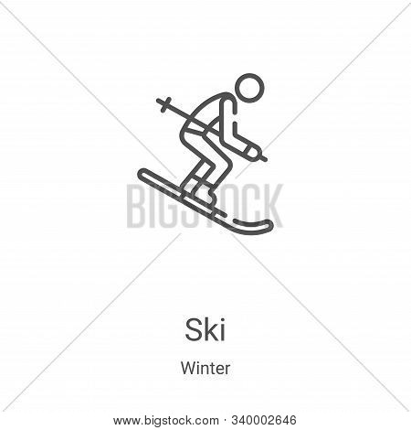 ski icon isolated on white background from winter collection. ski icon trendy and modern ski symbol