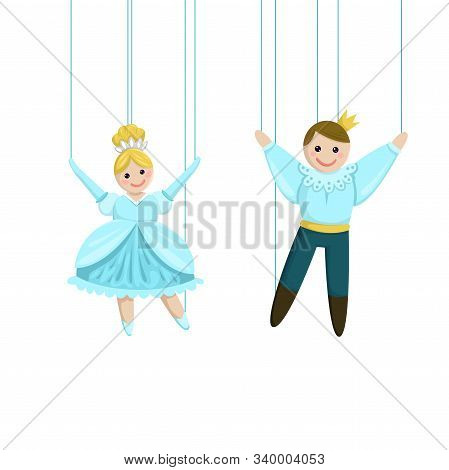 Puppet Dolls On The Threads In The Theater. Vector Illustration.
