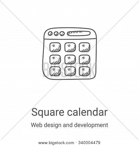 square calendar icon isolated on white background from web design and development collection. square