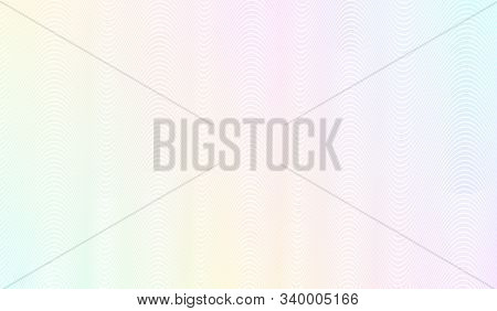 Iridescent watermark pattern. Line art design. Subtle zigzag curves. Vector abstract background. Teal, yellow, purple, blue gradient. Guilloche pattern for money protection, passport, banknote, cheque. EPS10 illustration