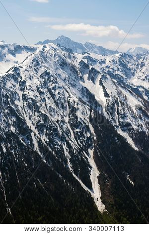 Mountain Range Nature Landscape. Mountain Layers Landscape. Springtime In Alps Mountain Landscape. S