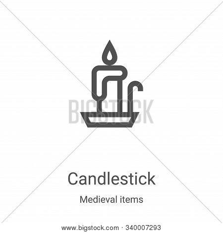 candlestick icon isolated on white background from medieval items collection. candlestick icon trend