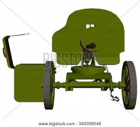 Polygonal Machine Gun Maxim. Machine Gun Isolated On A White Background. Front View. 3d. Vector Illu