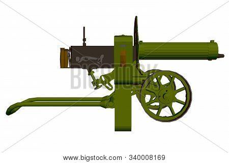 Polygonal Machine Gun Maxim. Machine Gun Isolated On A White Background. Side View. 3d. Vector Illus