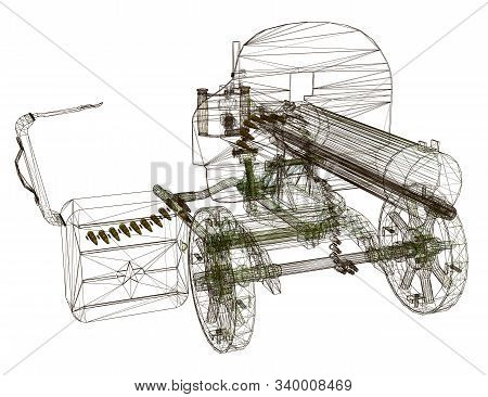 Wireframe Of The Maxim Machine Gun. Machine Gun Isolated On A White Background. View Perspective. 3d