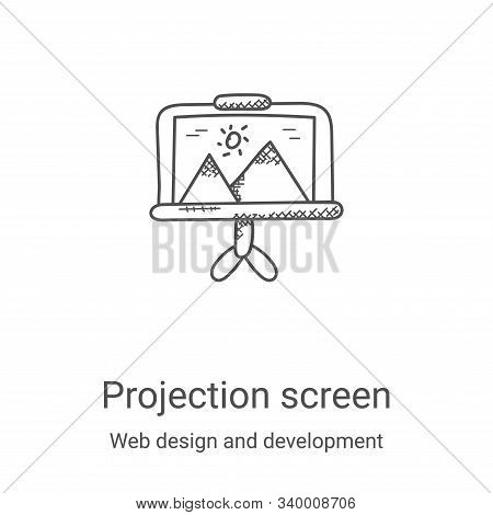 projection screen icon isolated on white background from web design and development collection. proj