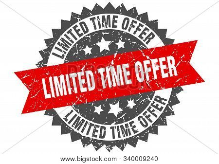 Limited Time Offer Grunge Stamp With Red Band. Limited Time Offer