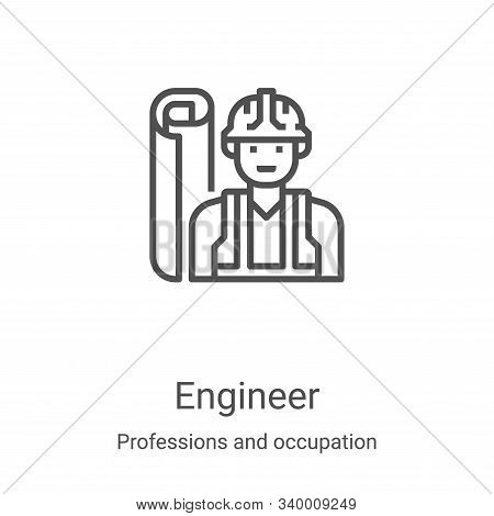 engineer icon isolated on white background from professions and occupation collection. engineer icon