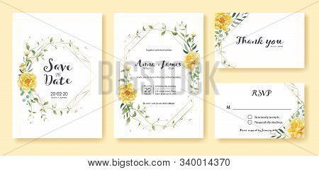 Wedding Invitation, Save The Date, Thank You, Rsvp Card Design Template. Vector. Yellow Flower, Silv