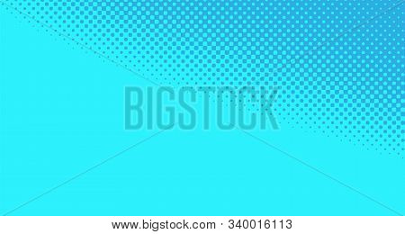 Blue Halftone Pop Art Background Abstract Vector Comics Style Blank Layout Template With Clouds Beam