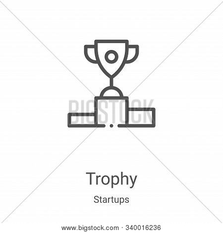 trophy icon isolated on white background from startups collection. trophy icon trendy and modern tro