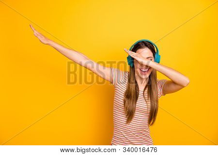Photo Of Beautiful Lady Good Mood Listen Music In Cool Wireless Earphones Dancing Strange Youth Move