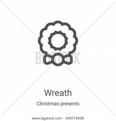wreath icon isolated on white background from christmas presents collection. wreath icon trendy and