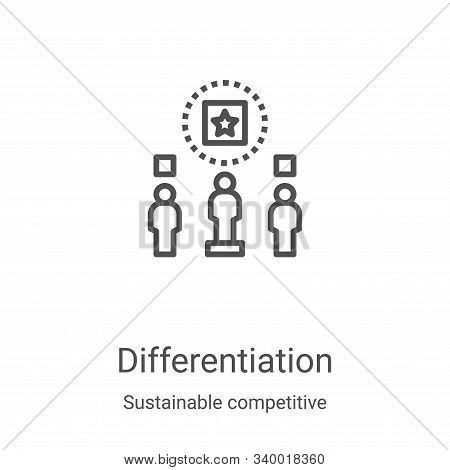 differentiation icon isolated on white background from sustainable competitive advantage collection.
