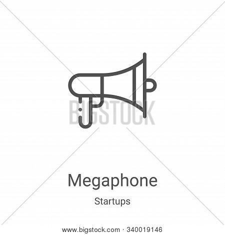 megaphone icon isolated on white background from startups collection. megaphone icon trendy and mode