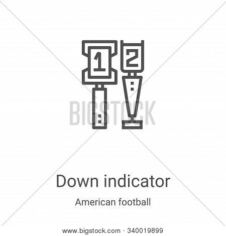 down indicator icon isolated on white background from american football collection. down indicator i