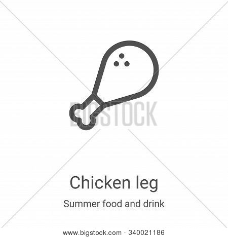 chicken leg icon isolated on white background from summer food and drink collection. chicken leg ico
