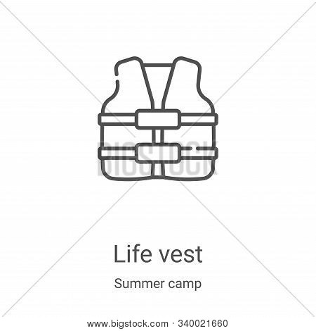 life vest icon isolated on white background from summer camp collection. life vest icon trendy and m