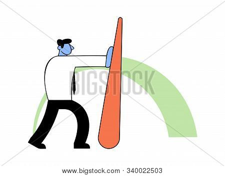 Benchmarking, Business Concept Vector Illustration. Businessman Pushing Needle Indicator.